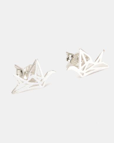 Silver Bird Sterling Silver Origami Bird Stud Earrings Silver