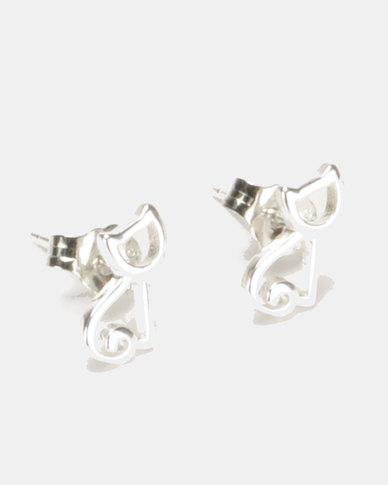 Silver Bird Sterling Silver Cat Stud Earrings Silver