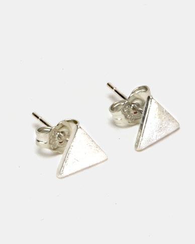 Silver Bird Sterling Silver Triangle Stud Earrings Silver