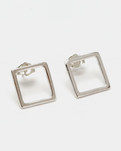 Silver Bird Sterling Silver Large Square Stud Earrings Silver