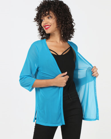 Utopia Mesh Cover Up Turquoise Blue