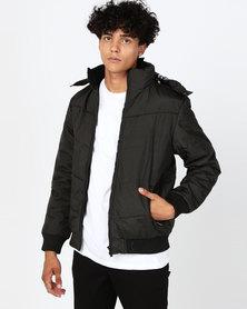Utopia Mens Puffer Jacket Black