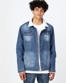 Utopia Trucker Jacket With Sherpa Lining Dark Wash Denim