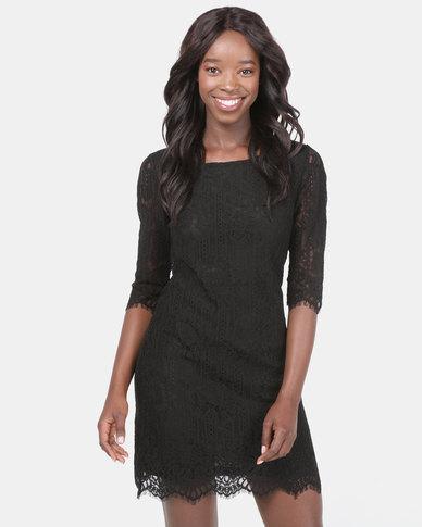 Assuili Round Neck Lace Dress Black