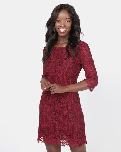 Assuili Round Neck Lace Dress Bordeax