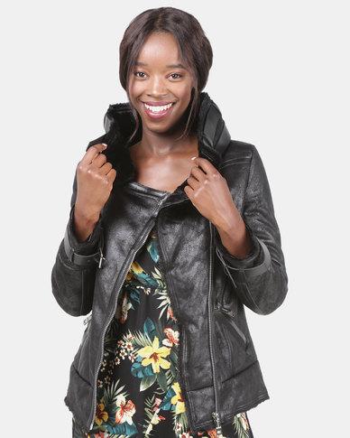 Assuili Faux Leather Jacket Black