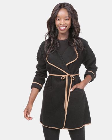 Assuili Long Edge Coat Black