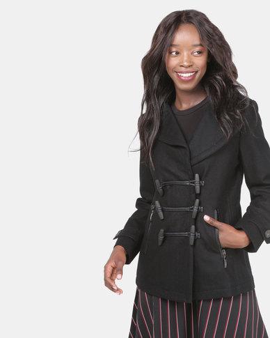 Assuili Million Buttons Short Coat Black