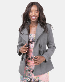 Assuili Million Buttons Short Coat Grey