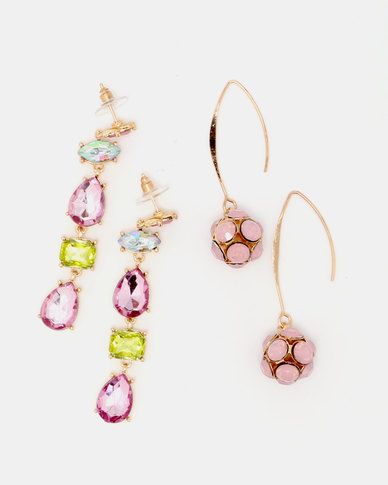 Queenspark Pink Long Drops 2Pk Earrings Pink/Colour