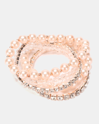 Queenspark 5 Row Pearl And Diamante Stretchie Bracelets Cream