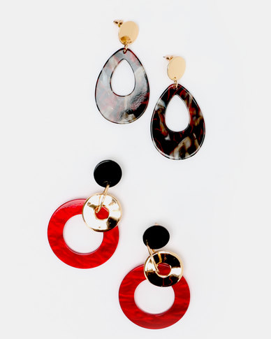 Queenspark 2pk Statement Resin Earrings Red/Colour