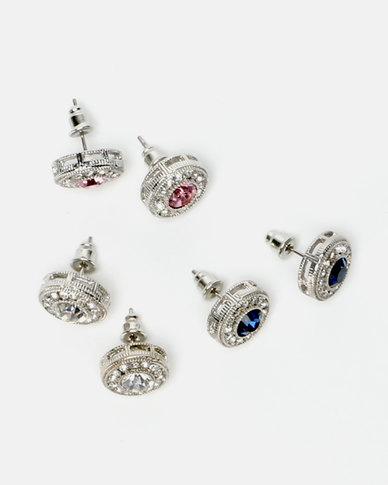 Queenspark 3PK Stud Earrings Multi