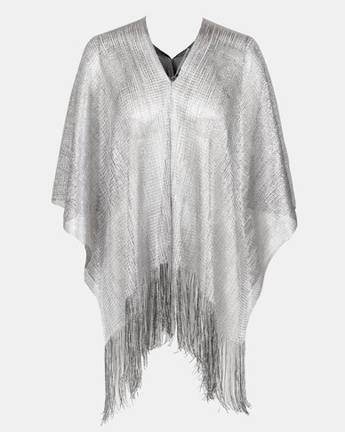 Queenspark Glam Reversible Poncho Silver