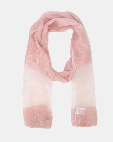 Queenspark Pearl Inset Poly Scarf Pink