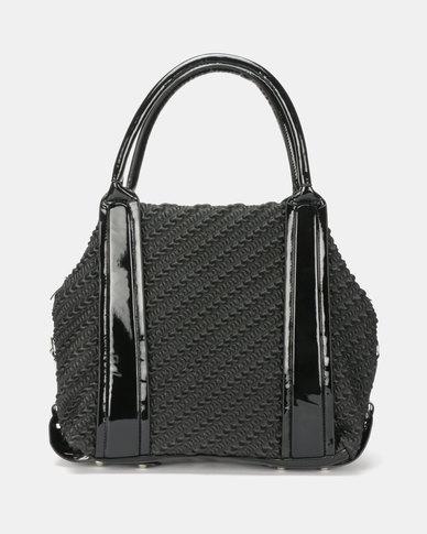 Queenspark Patent Trim Embossed Best Seller Bag Black