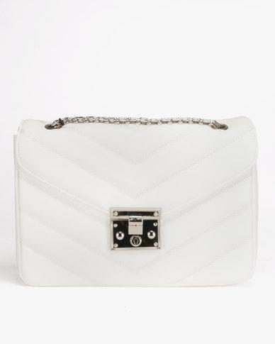 Queenspark Chevron Bag with Chain Handle White
