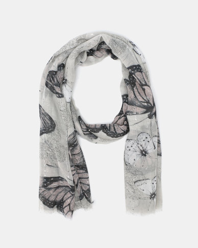 Queenspark Repeat Butterfly Print with Sequins Scarf Grey
