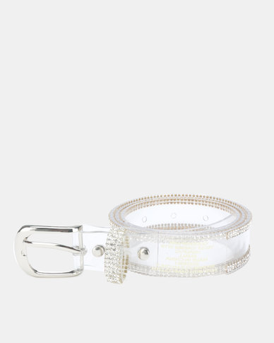 Queenspark Jelly Belt with Fine Diamante Outer Trim Clear
