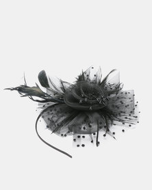 Queenspark Feather Spot Mesh Fascinator With Aliceband Black