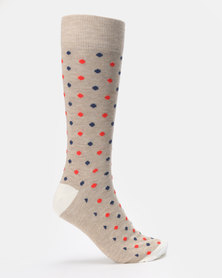 JCrew Dot Design 2 Pack Sock Khaki