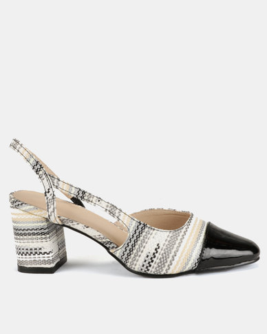 Queenspark Patent And Straw Slingback Sandal Heels Black
