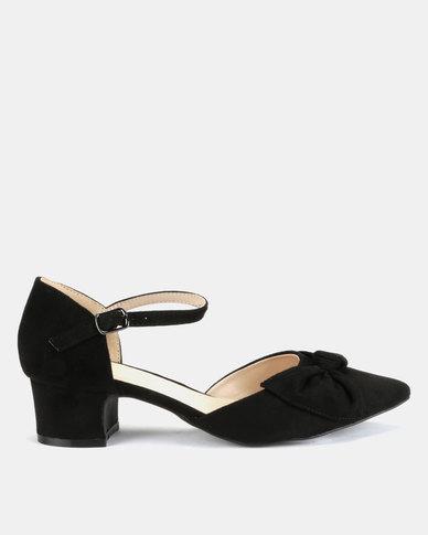 Queenspark Mirco Fibre Bow Mary Jane Block Heels Black