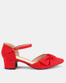Queenspark Mirco Fibre Bow Mary Jane Block Heels Red