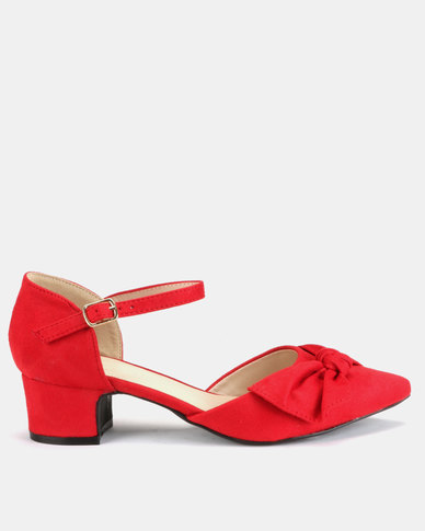Queenspark Mirco Fibre Bow Mary Jane Block Heels Red
