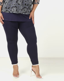 Queenspark Plus Stretch Knit Jeggings Blue