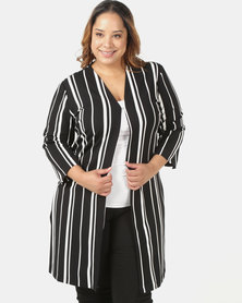 Queenspark Plus Striped Knit Edge To Edge Jacket Black
