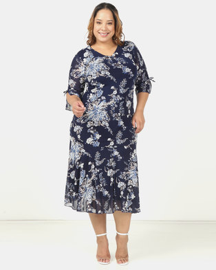 Queenspark Plus 3/4 SLeeve Printed Mesh Fit & Flare Knit Dress Navy