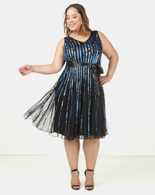 Queenspark Plus New Ribbon Mesh Printed Glamour Knit Dress Blue