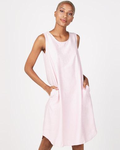 Miss Cassidy By Queenspark Pop-Over Woven Dress Pink