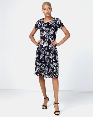Queenspark Rose Print Skater Knit Dress Navy