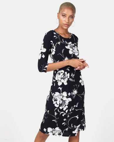 Queenspark Fantasy Floral Mock Wrap Knit Dress Navy