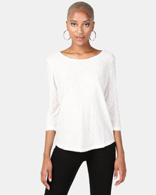 Queenspark Ripple Design Lace Inset Core Knit Top White