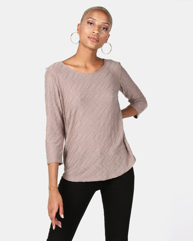 Queenspark Ripple Design Lace Inset Core Knit Top Taupe