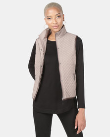 Queenspark Piped Puffer Gilet Woven Jacket Pink