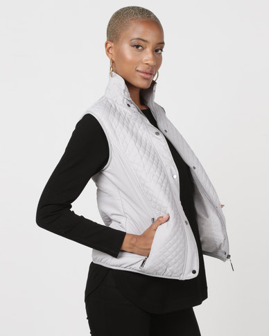 Queenspark Piped Puffer Gilet Woven Jacket Silver