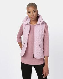 Queenspark Fancy Gilet Woven Jacket Pink