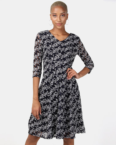 Queenspark Mini Floral Fantasy Fit & Flare Knit Dress Navy