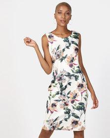 Queenspark Floral Print Shift Knit Dress White