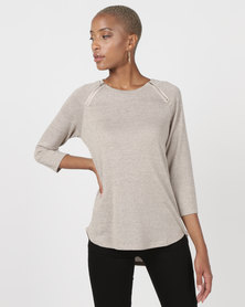 Queenspark Crewneck Zip Detail Knit Top With Round Hem Stone