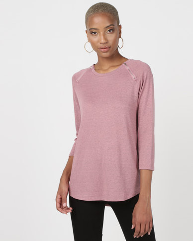 Queenspark Crewneck Zip Detail Knit Top With Round Hem Berry