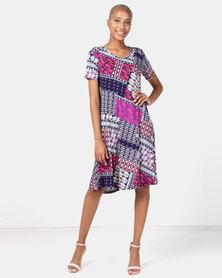 Queenspark Short Sleeve Knitted Umbrella Dress Multi