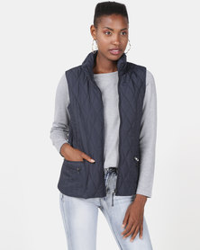 Queenspark Ladies Woven Quilted Zip Through Sleeveless Gilet Navy