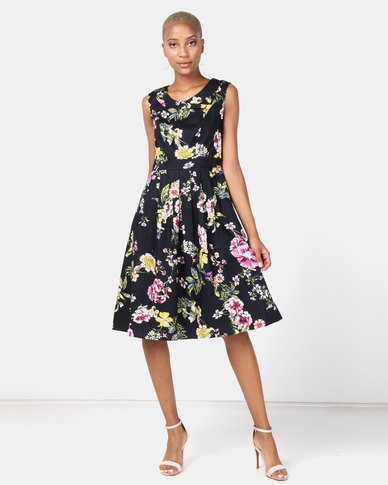 Queenspark Floral Portrait Cotton Woven Dress Navy
