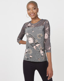 Queenspark Floral And Geometric 3/4 Sleeve Knit Top Black