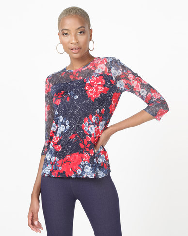 Queenspark  Rose Design 3/4 Sleeve Knit Top Navy